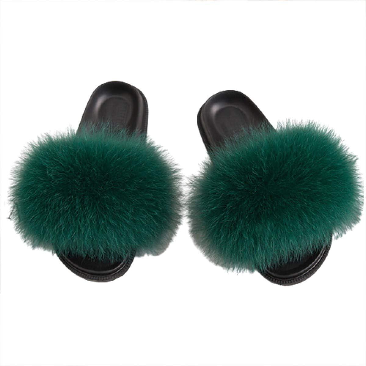 Zapatillas para Mujer de Suaves Pelo Sintético Chinelas Mujer Verano Punta Abierta Peludo Acogedor Pantuflas Antideslizante Slippers #9-44/45 EU