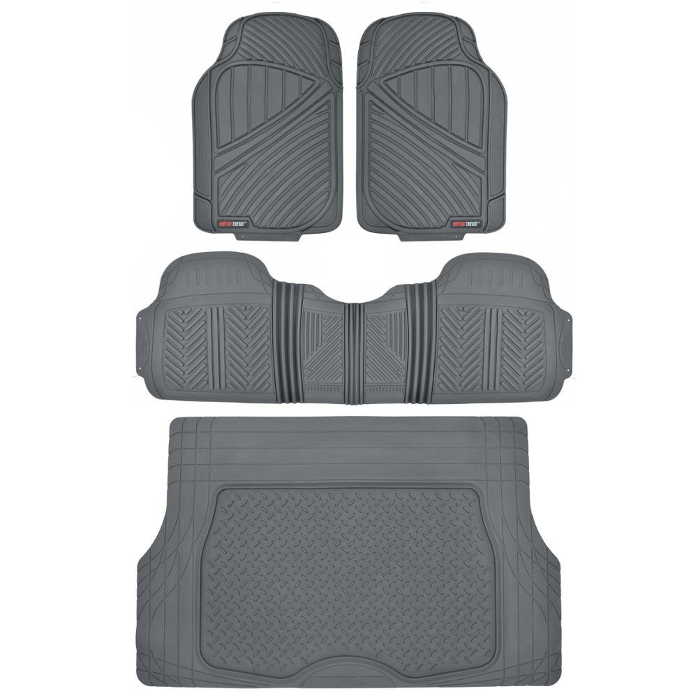 Motor Trend Flextough Rubber Car Floor Mats & Cargo Trunk Mat Set Black Heavy Duty - Odorless, Extreme Duty (Beige) BDK