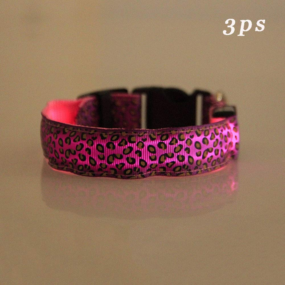 Pink LargeLED Dog Collar, Pet Dog Collar Light up Dog Collar for Safety Water Resistant Adjustable Sizes for Small Medium Large Dogs3ps