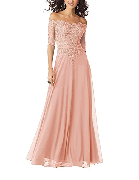 20KyleBird Women\'s Off Shoulder Half Sleeve Evening Gown Lace Chiffon Plus  Size Bridesmaid Dresses