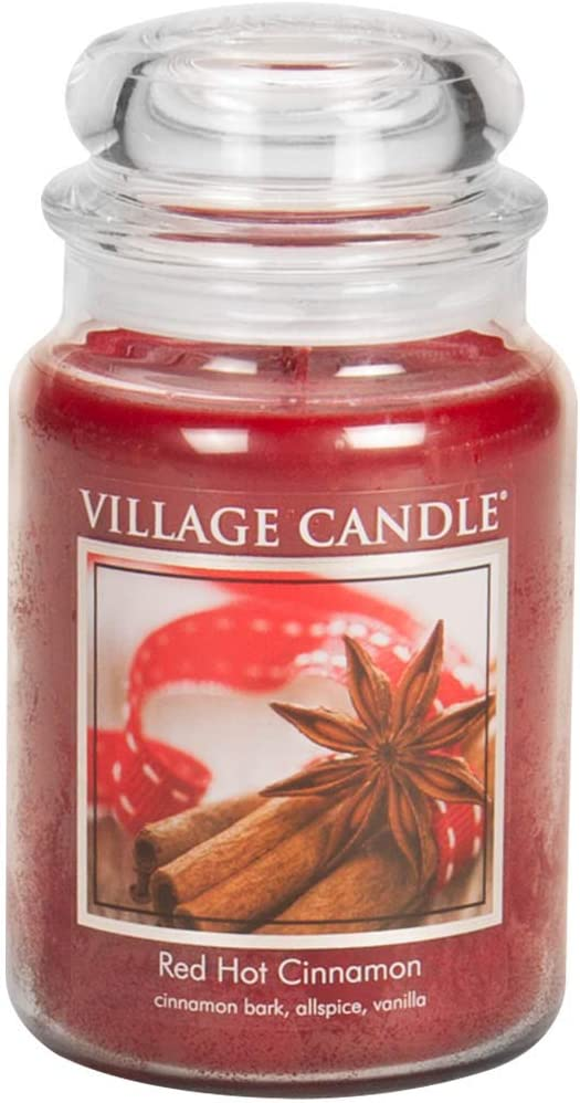 Village Candle Red Hot Cinnamon Large Glass Apothecary Jar Scented Candle, 21.25 oz