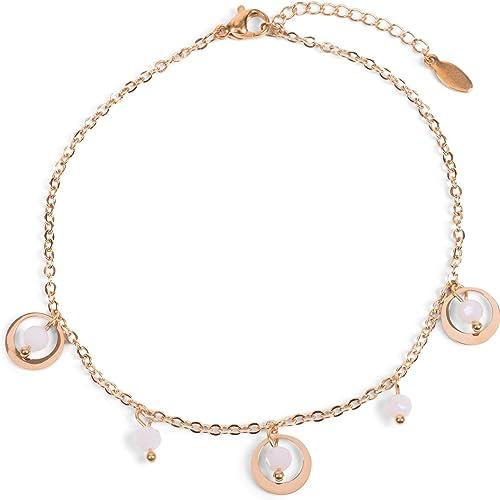 Tobillera de Mujer con Colgantes de Anillos y Perlas, Cadena de eslabones, Cierre de mosquetón, Cadena, bisutería