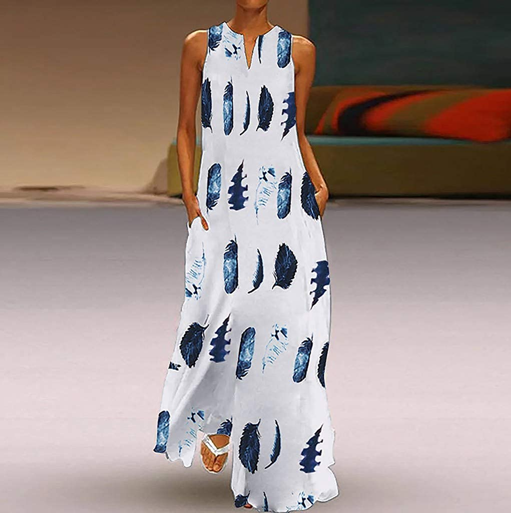 Women Bohemian Feather Print Sleeveless O-Neck Summer Plus Size Maxi Shirt Dress