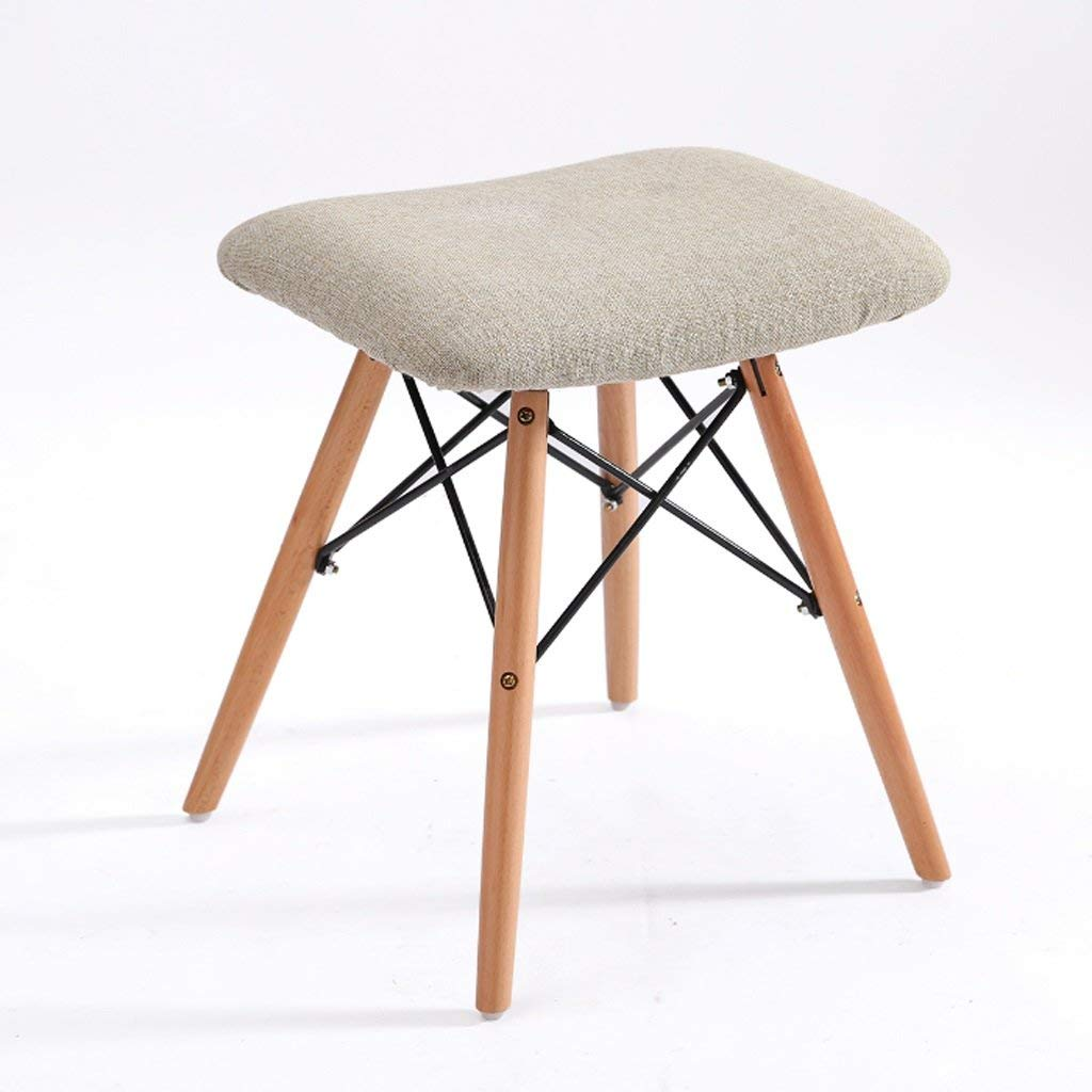 TangMengYun Removable and Washable Cloth Solid Wood Stool Modern Simple Leisure Chair Computer Chair Dressing Stool Home Stool (Color : B, Size : 38.538.546CM)