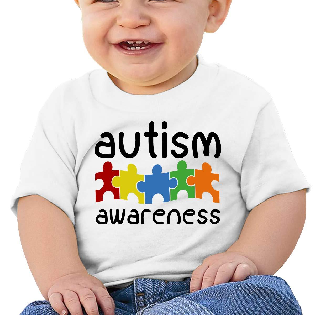 Autism Awareness Newborn Baby Short Sleeve Crewneck Tee Shirt 6-18 Month Tops