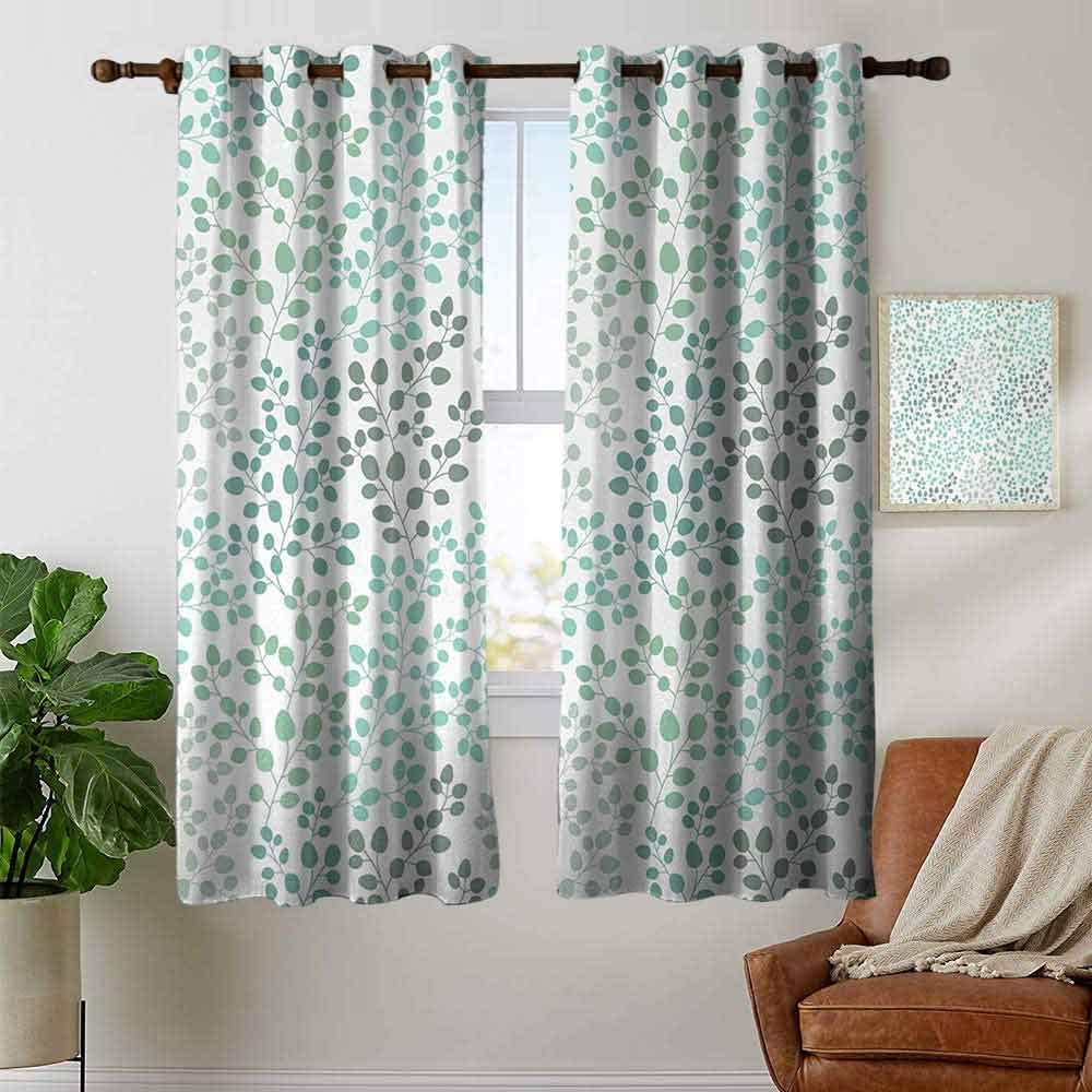 Blackout Curtains Leaf,Romantic Holiday Island Hawaiian Banana Trees Watercolored Image,Dark Green and Forest Green,for Bedroom,Nursery,Living Room 42x54