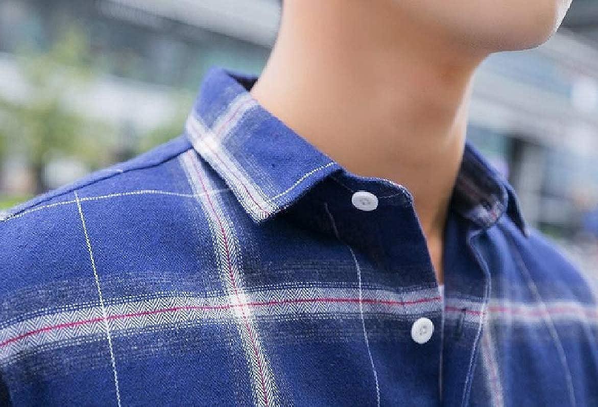 SportsX Mens Sprint Autumn Plaid Long Sleeve Square Collor Cardi Shirt