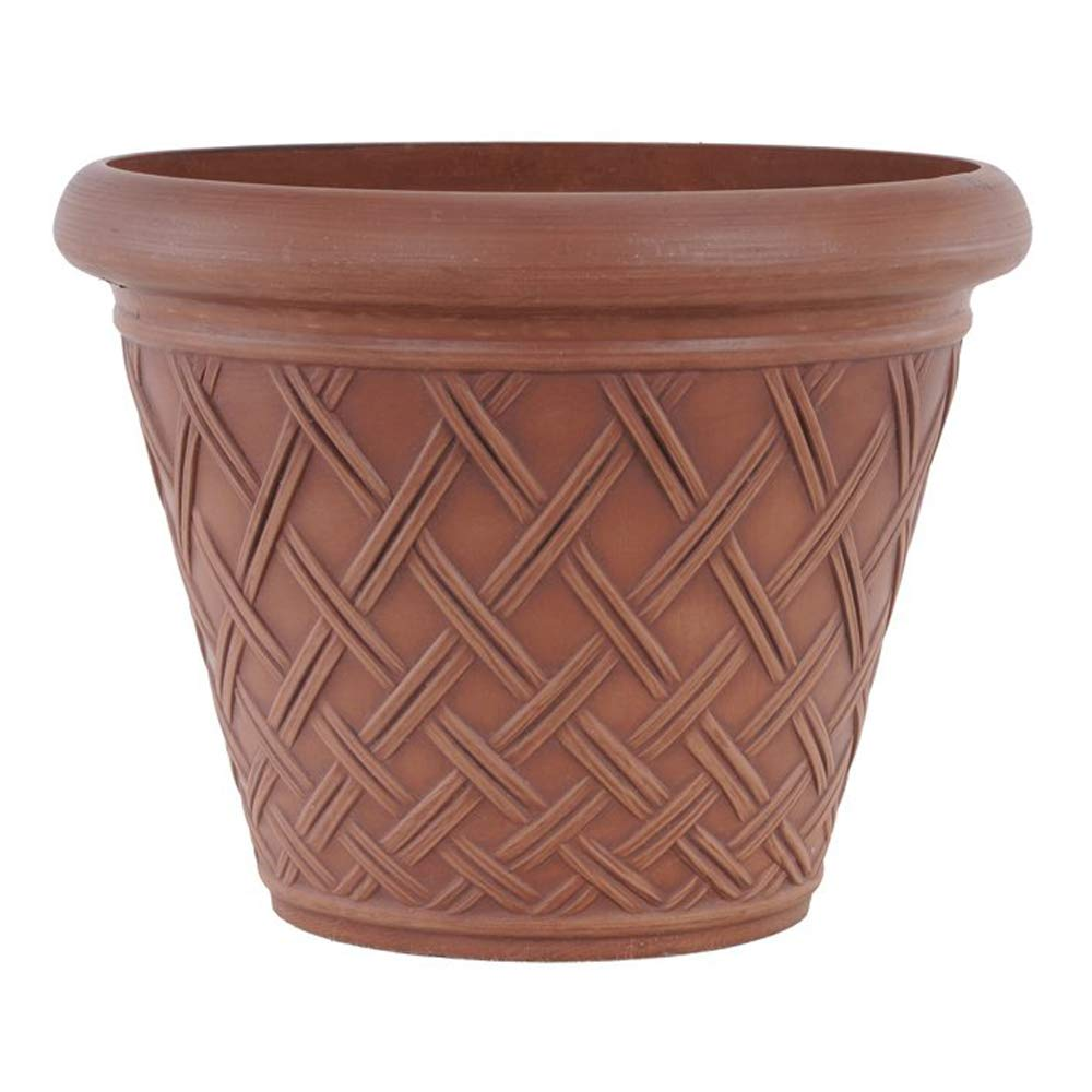 Arcadia PSW MB46TC Basket Weave Planter, 18 by 14-Inch, Terra Cotta