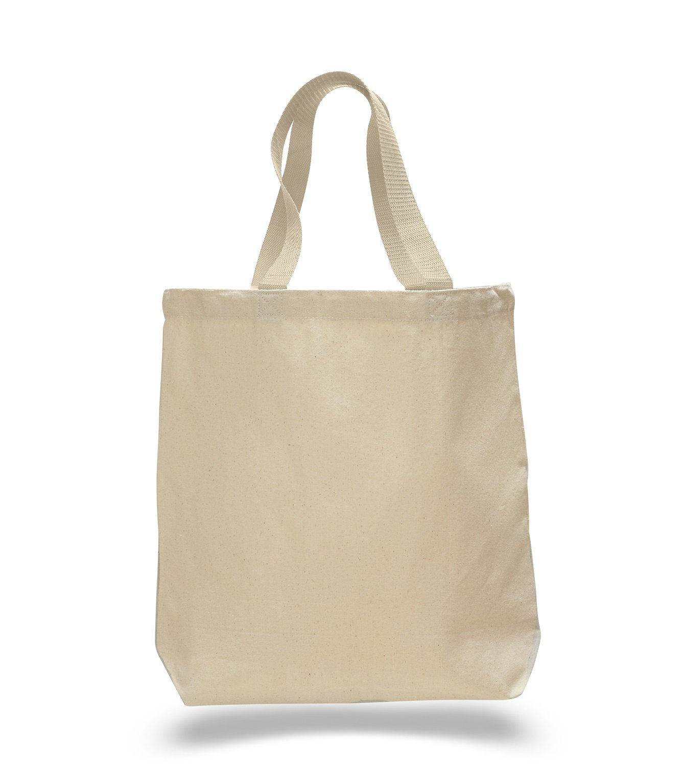 (Set of 12) 12 Pack- Wholesale Cotton Canvas Gusset and Contrasting Handles Tote Bag (Natural) by ToteBagFactory B010RBDVXE ナチュラル ナチュラル
