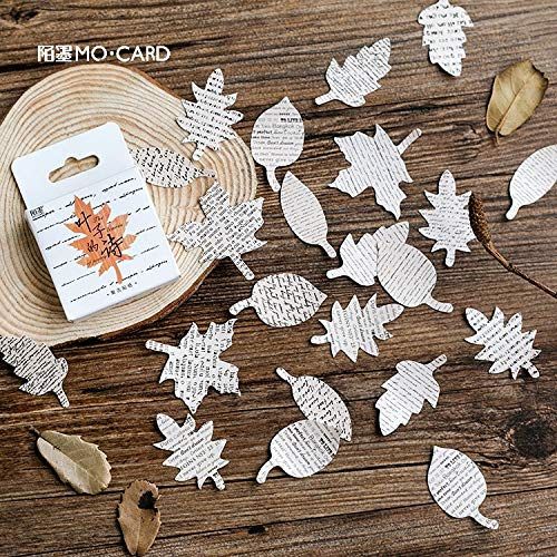 - Cacys-Store - Leaves Poem Stickers Set Decorative Stationery Stickers Scrapbooking DIY Diary Album Stick Label