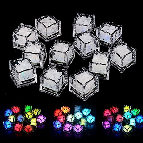 LUCKSTAR Simulation Ice Cube - 60pcs Plastic Multi-Color Luminous Ice Cube with Colorful Light for Halloween Party Wedding Club Bar Champagne Tower Decoration -
