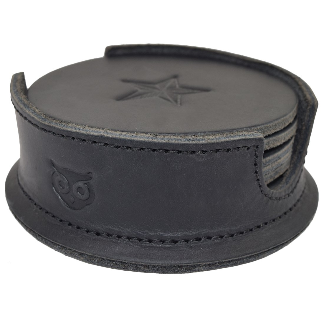 Durable Thick Leather Moon, Star and Heart Coasters (6-Pack) Handmade by Hide & Drink :: Charcoal Black