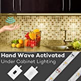 Under Cabinet Lights, Megulla 5ft/1.5m LED Strip Light, Dimmable, IP65 Waterproof, 12V Power Supply, Wave/Touch Activated IR Sensor Switch -Starter Kit (Warm White, 3000K)