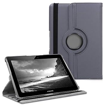 kwmobile Funda compatible con Samsung Galaxy Tab 2 10.1 P5100/P5110 - Carcasa de cuero sintético para tablet en antracita