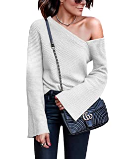 cdbab1721e07a2 Women's One Off Shoulder Shirt - Sexy Pullover Long Sleeve Baggy Tops