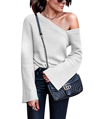 f23402981e Women s One Off Shoulder Shirt - Sexy Pullover Long Sleeve Baggy Jumper  Tops Small Grey
