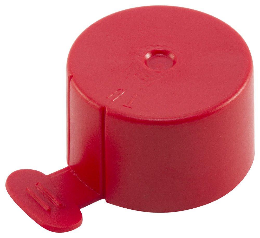Caplugs QTU9Q1 Plastic Flexible Tear Tab Cap To cap thread size 13/16'' TUV-9, PVC, To Cap Thread Size 13/16'', Red (Pack of 500)