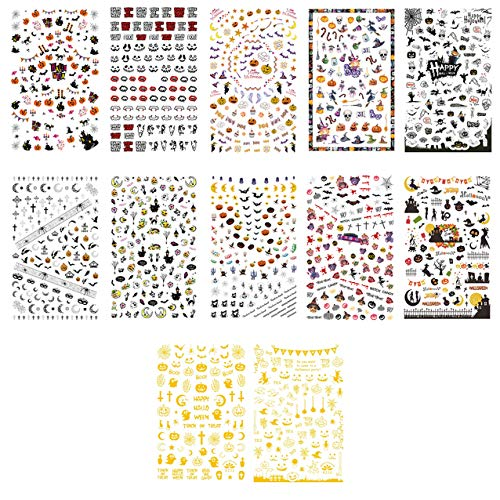 TailaiMei 1500 Pcs Halloween Nail Decals Stickers, 12 Sheets Self-adhesive DIY Nail Art Tips Stencil for Halloween Party, Include Pumpkin/Bat/Ghost/Witch etc