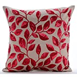 "Luxury Mocha Pillow Shams, Red Sequins Flower Pillow Shams, 24""x24"" Pillow Shams, Square Cotton Linen Shams, - Fall Red Leaves"