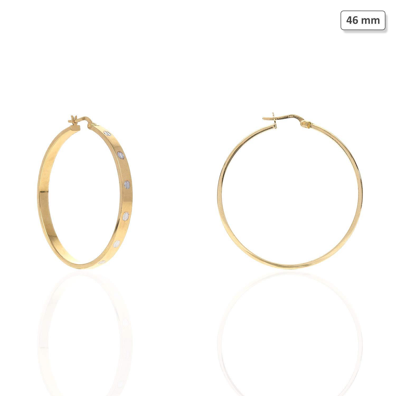 14K Two-Tone White Yellow Gold Flat Tube Screw Design Hoop Earrings 35mm 46mm
