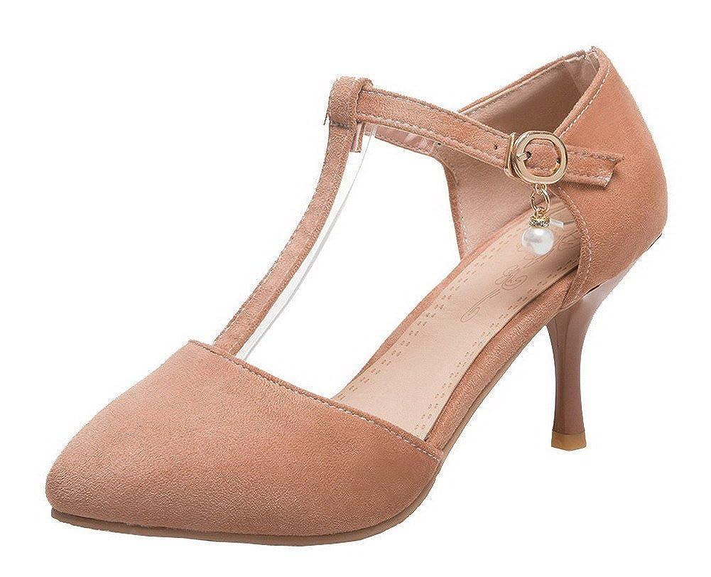 AgeeMi Shoes Mujer Sólido Suede Hebilla Tacón Medio de Salón