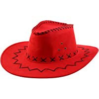 uxcell Unisex Summer Faux Suede Adjustable Neck Strap Wide Brim Western Style Sunhat Cowboy Hat