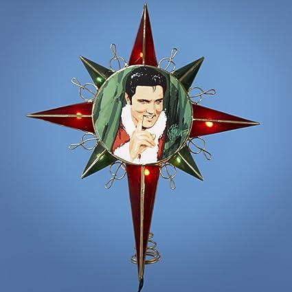 "12.5"" Lighted Red & Green Elvis Presley in Santa Suit Star Christmas  Tree Topper - 12.5"