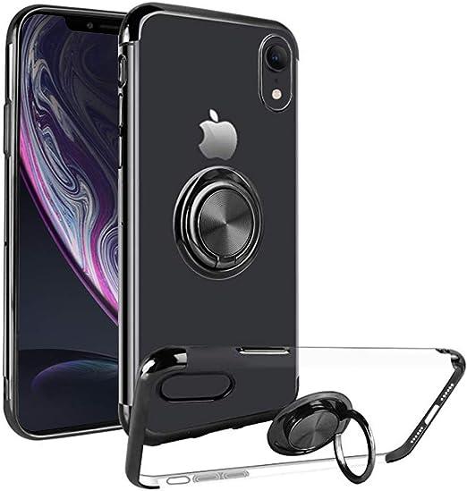 Coque transparente pour iPhone 10XR - Pour iPhone 10XR - Coque transparente - XRcase 10R X 10 R RX - Support anneau - IXR Skin Bumper de 6,1 cm