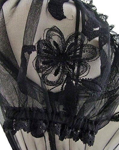 Dirndlbluse Bernadette Schwarz - Wunderschöne transparente Trachtenbluse mit Blumenstickerei und Spitze für Oktoberfest und Kirchweih