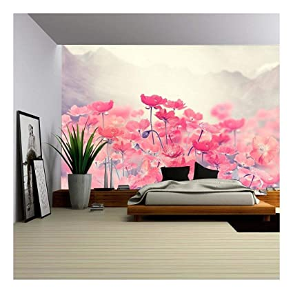 Wall26 Field Of Bright Red Poppy Flowers Removable Wall Mural Self Adhesive Large Wallpaper 100x144 Inches