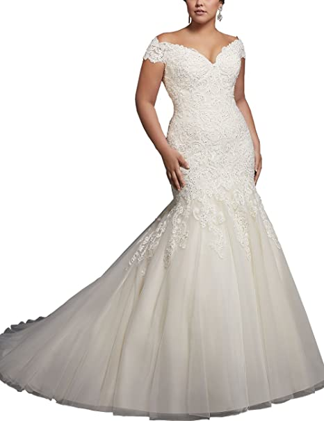 Womens Lace Mermaid Wedding Dresses Plus Size Cap Sleeve Bridal Gowns Amazonca Clothing Accessories