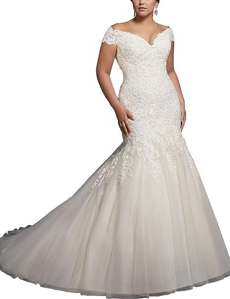 Womens Lace Mermaid Wedding Dresses Plus Size Cap Sleeve Bridal