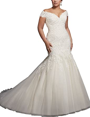 1d4f5bff29e30 Women s Plus Size Mermaid Wedding Dress Cap Sleeve Beaded Lace Applique  Bridal Gown 2018 (Ivory