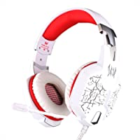 Earbuds Headset EACH G1100 Professional Headband Type Stereo Bass Vibration Gaming Headphone Headset with Mic/LED Lights for PC Gamer (White+Red)