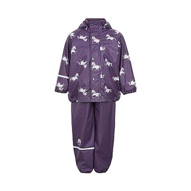 09c2e8b577 CeLaVi Mädchen Regen-Set mit Futter Regenjacke und Regenhose Wasserdicht  5000mm (Purple Plumerina,