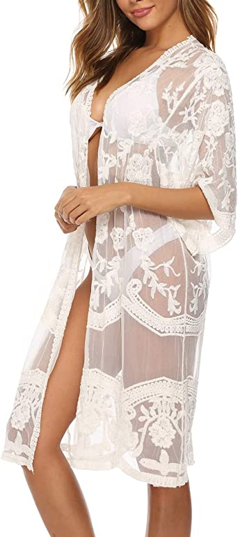 Womens White Lace Cover Up Kimono Cardigan Half Sleeve Summer Sheer Beachwear At Amazon Women S Clothing Store