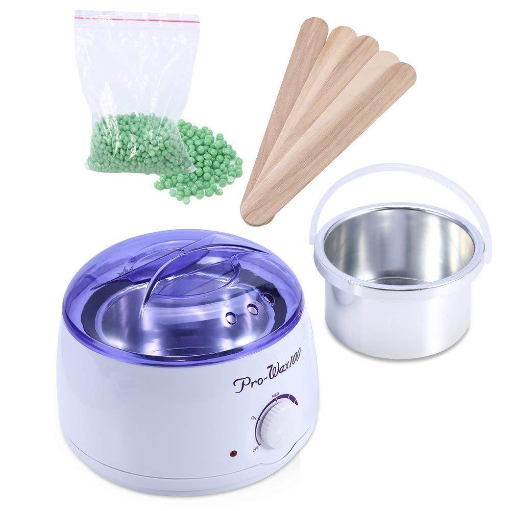 Wax Warmer Hair Remover, Salon Spa Hair Removal Hot Paraffin Wax Pot Heater Depilatory Warmer Machine +100g Wax Bean + 5Pcs Spatula (US-Apple) Brino