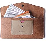 Borgasets Women's Wallet Leather RFID Blocking Ultra-thin Envelope Ladies Purse Travel Clutch with ID Card Holder and Phone Pocket Vintage Brown
