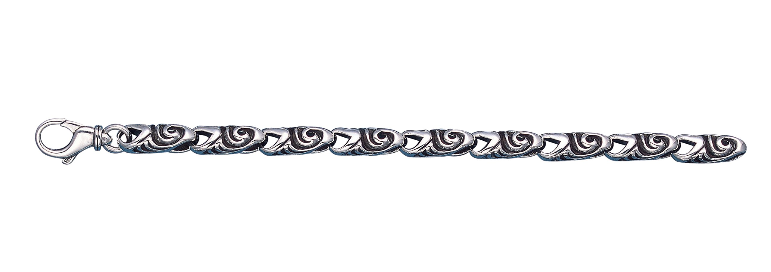 Men's Oxidized Sterling Silver Swirl Link Bracelet 8.75'' Long