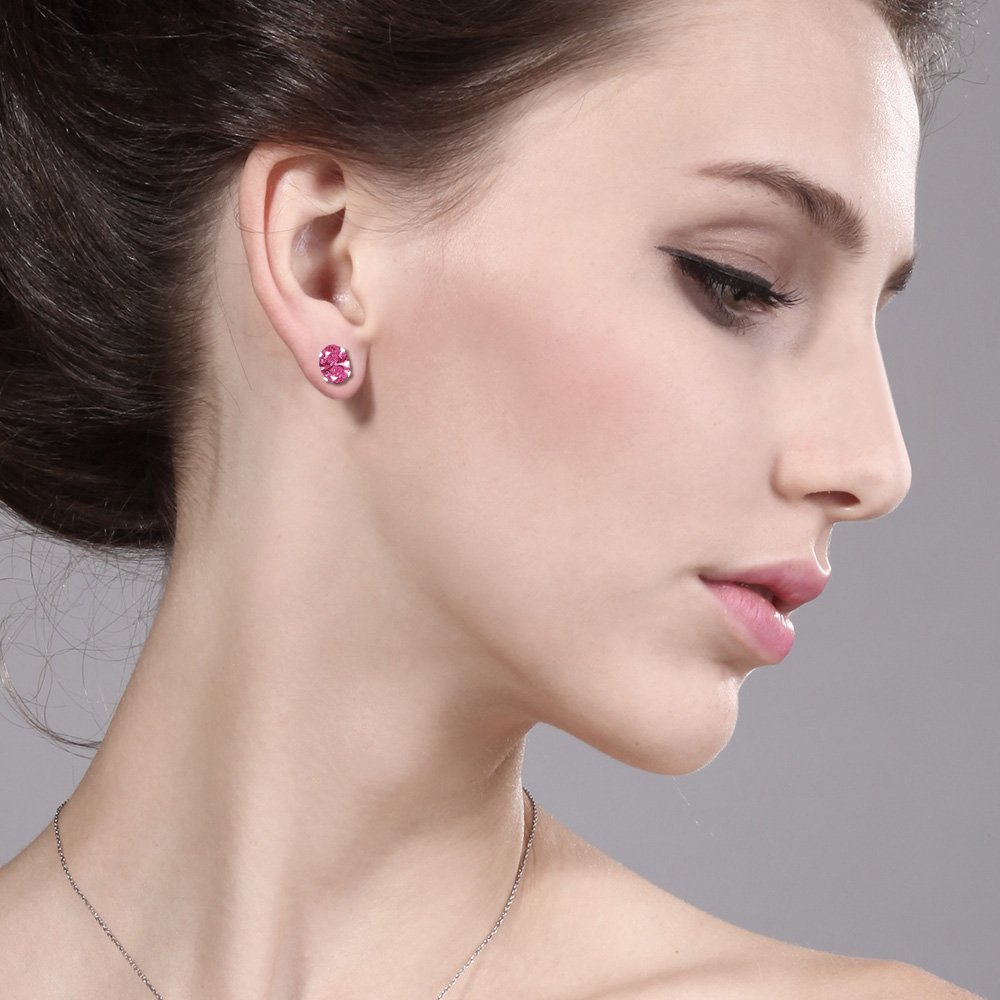 Carlo Bianca Pink 925 Sterling Silver Earrings Made With Swarovski Zirconia