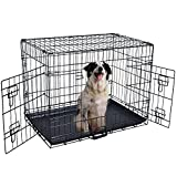 Pet Kennel Cat Dog Folding Steel Crate Animal Playpen Wire Metal Cage Black (42'')