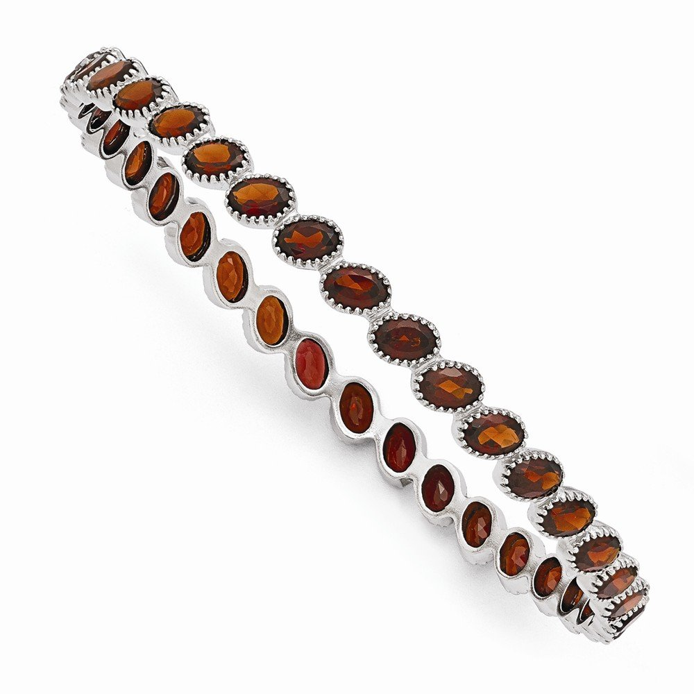 Perfect Jewelry Gift Sterling Silver Rhodium Plated Oval Garnet Slip On Bangle