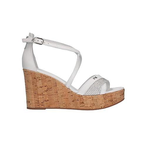 NERO GIARDINI Sandali zeppa bianco 5690 scarpe donna mod. P805690D