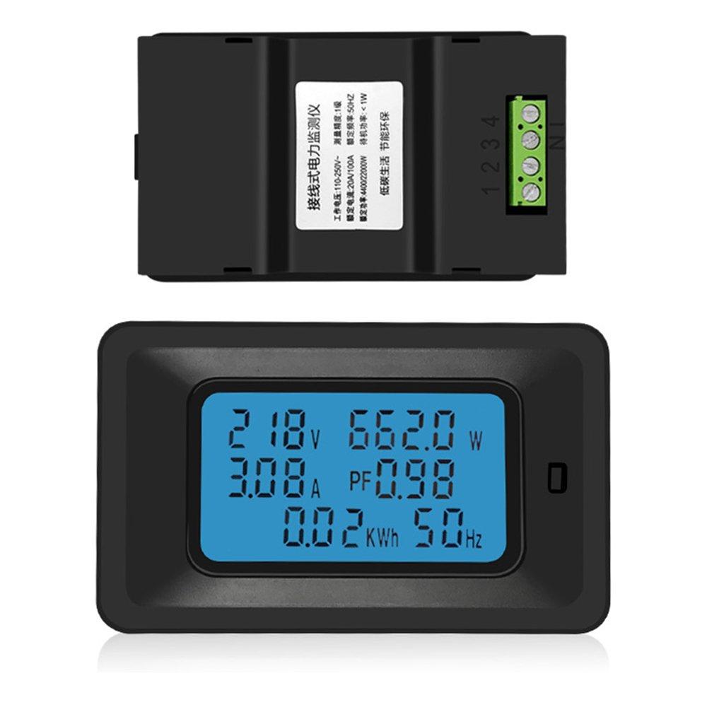 Festnight Misuratore tensione digitale 20A Misuratore energia LCD 5KW Fattore potenza Misuratori di frequenza di energia Voltmetro Amperometro Amperometri Watt Meter Tester Indicatore di rilevamento