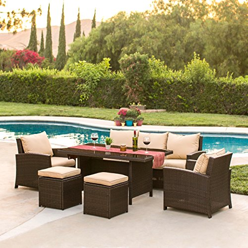 Best Choice Products Complete Outdoor Living Patio Furniture 6-Piece Wicker Dining Sofa Set (Brown) (Choice Next Furniture)