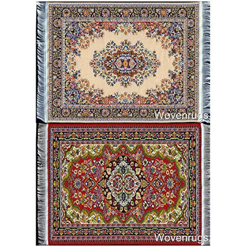 Inusitus Set of 2 Dollhouse Carpets | Miniature Dolls House Rugs | 10x7 | Toy Furniture | 1