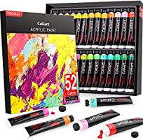 Acrylic Paint Set, Caliart 52 x22ml Tubes Artist Quality Non Toxic Rich Pigments Colors Great for Kids Adults...