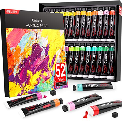 Acrylic Paint Set, Caliart 52 x22ml Tubes Artist Quality Non Toxic Rich Pigments Colors Great for Kids Adults Professional Painting on Canvas Wood Clay Fabric Ceramic Crafts
