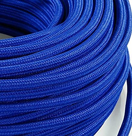 Câble électrique en gaine de tissu ronde, style vintage avec revêtement coloré bleu H03VV-F, section de 2x 0,75cm,pour lustres, lampes, abat jour design Produit fabriqué en Italie.