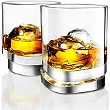 JoyJolt Aqua Vitae Premium Whiskey Glass Set of 2. Square Whiskey Glasses with Off Set Base. Old Fashioned Rocks Glasses for